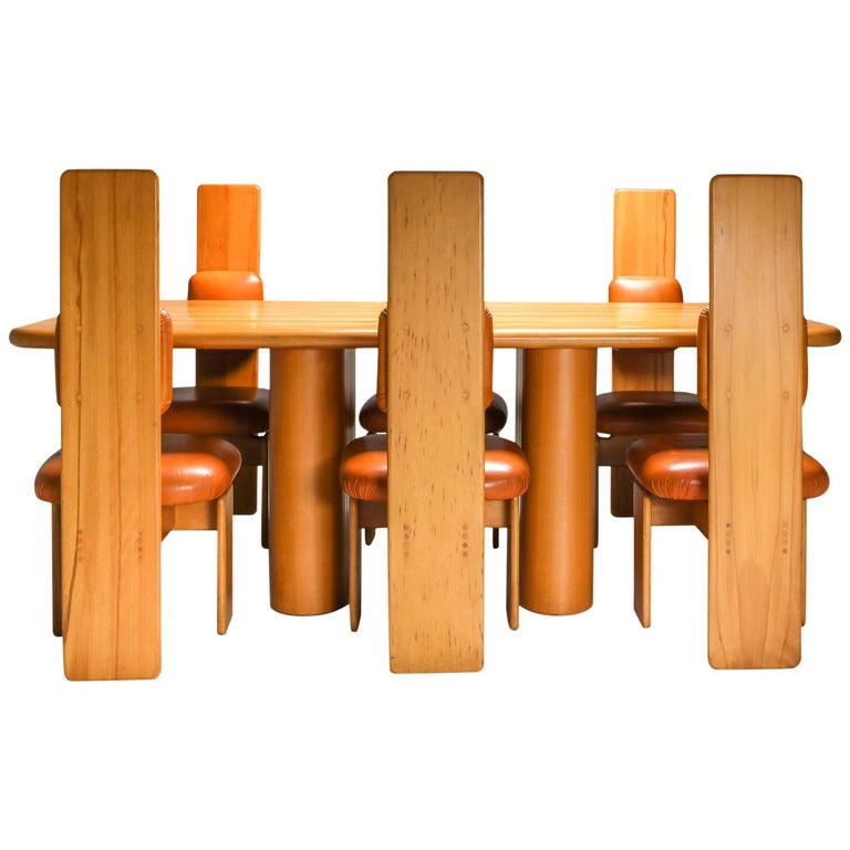 Beech and Leather Dining Room Set by Mario Marenco, Italy, Set of Six For Sale