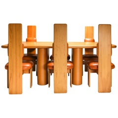 Beech and Leather Dining Room Set by Mario Marenco, Italy, Set of Six