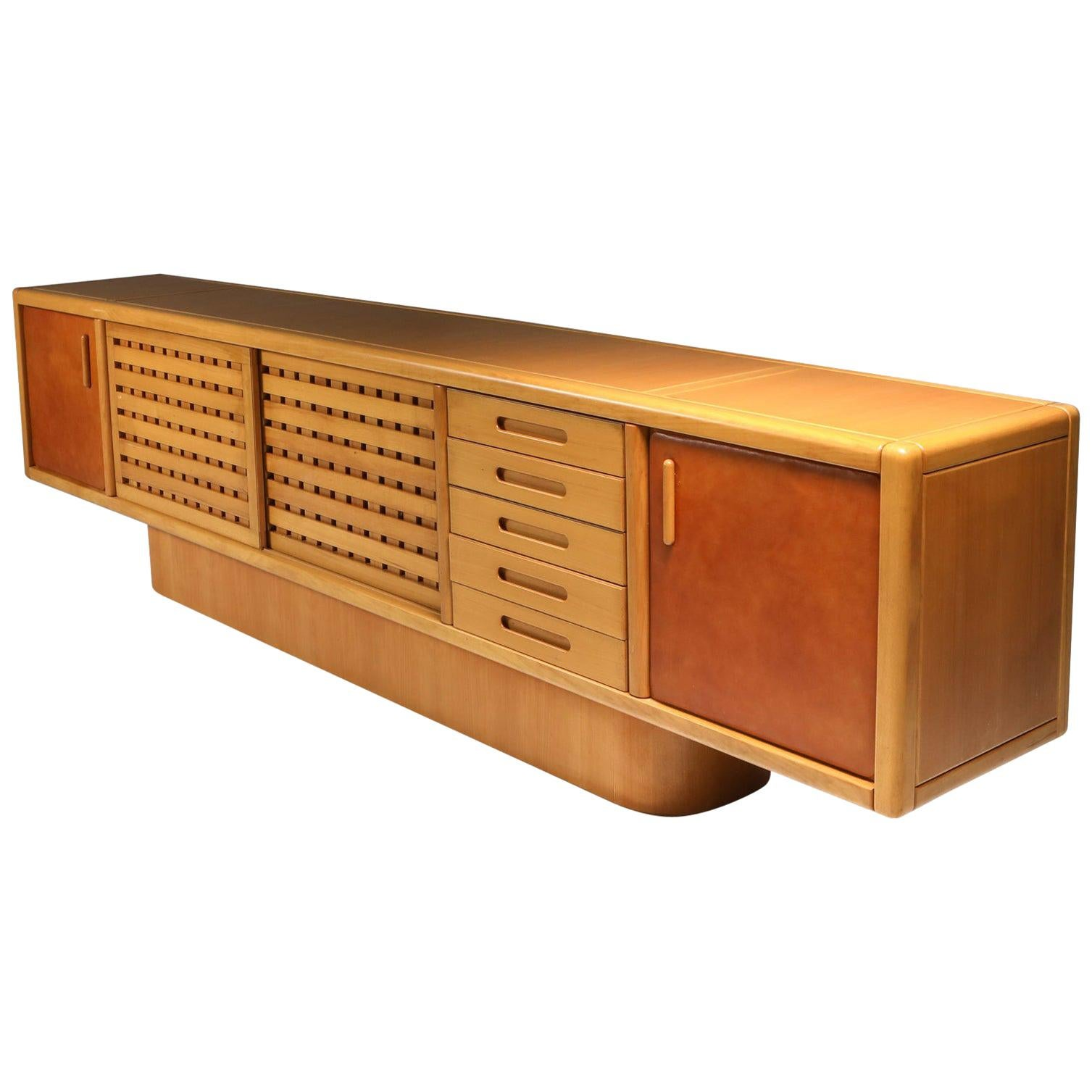 Beech and Leather Sideboard by Mario Marenco, Italy