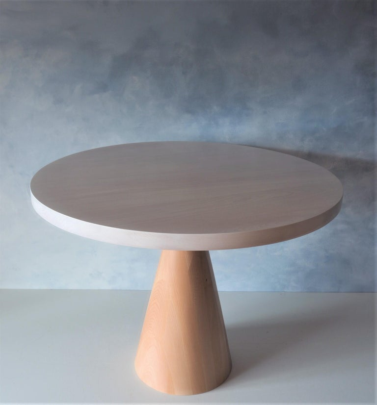 Modern Beech and Maple Round Coffee Table by MSJ Furniture Studio For Sale
