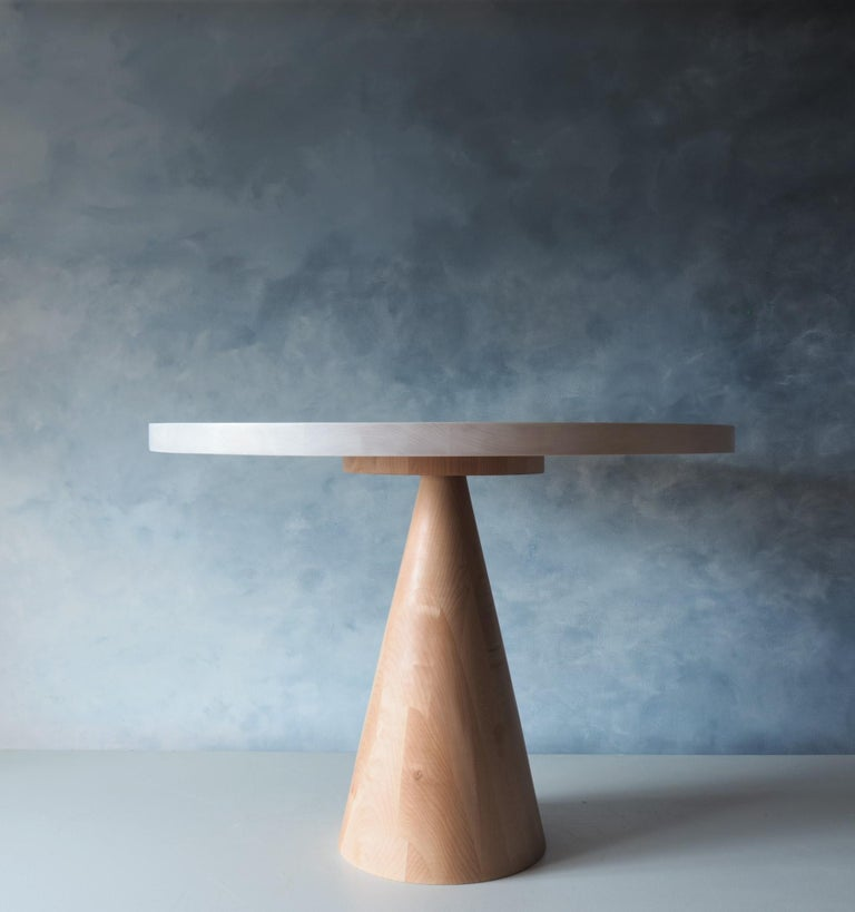 Beech and Maple Round Coffee Table by MSJ Furniture Studio In New Condition For Sale In Vancouver, BC