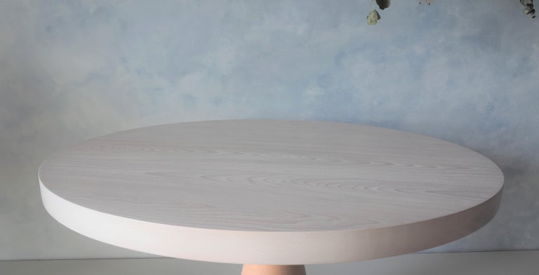 Contemporary Beech and Maple Round Coffee Table by MSJ Furniture Studio For Sale
