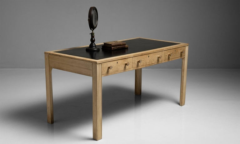 French Beech & Leather Desk, France, circa 1940 For Sale