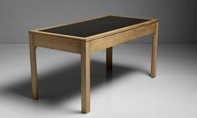Mid-20th Century Beech & Leather Desk, France, circa 1940 For Sale