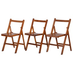 Beech Midcentury Chairs, 3 Pieces, 1950s, Well Preserved Condition
