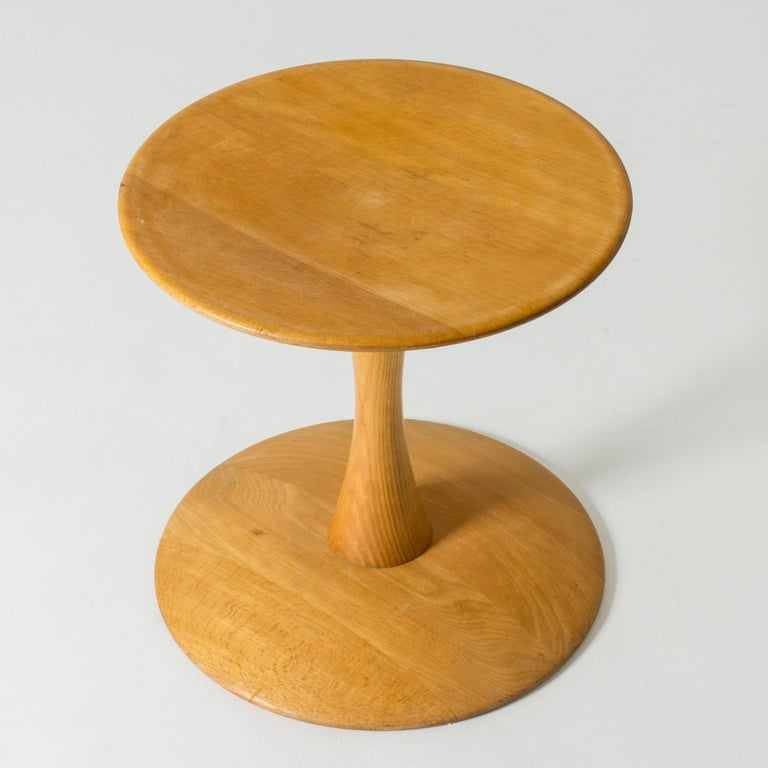 """Lovely """"Toad stool"""" or """"Trisserne"""" stool by Nanna Ditzel. Made from beech, in a friendly graphic design. Can be used as a seat or a small side table.   The base diameter is 42 cm, while the top is 39 cm."""