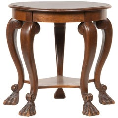 Beech Wood and Oak Round Coffee Table, Early 20th Century