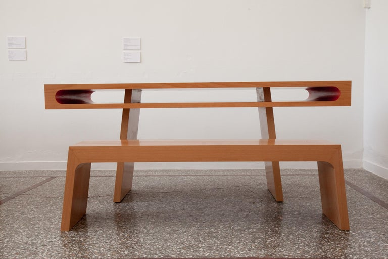 21st Century, Minimalist, European, Handmade Bench lined with beechwood In Excellent Condition For Sale In Tinos, Cyclades