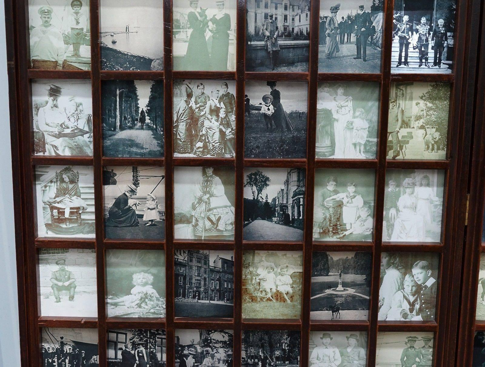 Beech Wood Folding Screen Room Divider Victorian Pictures Royal Military