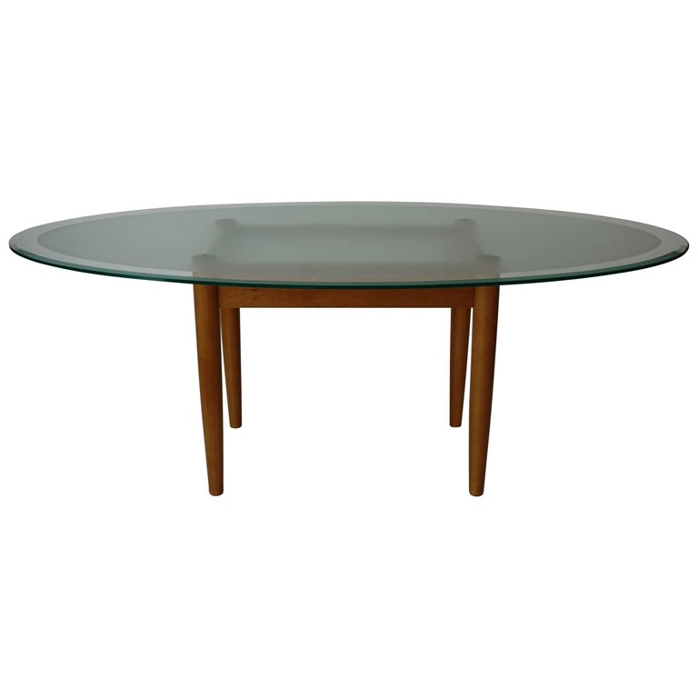 Glass Dining Table For Sale: Beech Wooden Base And Oval Glass Tray Dining Table For