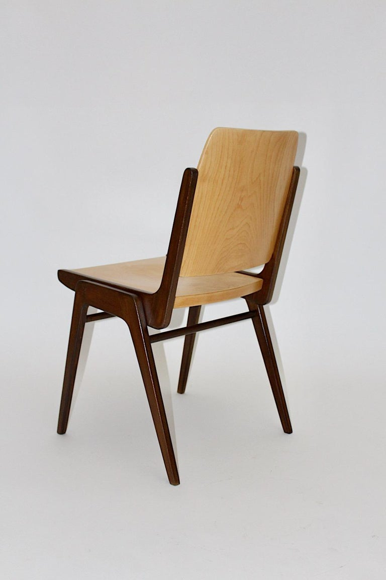 Beechwood Bicolor Brown Mid-Century Modern Vintage Dining Chairs, Franz Schuster For Sale 5