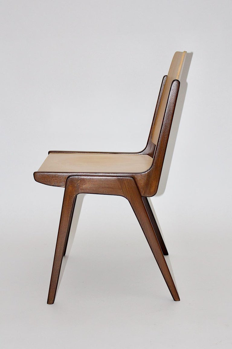 Beechwood Bicolor Brown Mid-Century Modern Vintage Dining Chairs, Franz Schuster For Sale 6