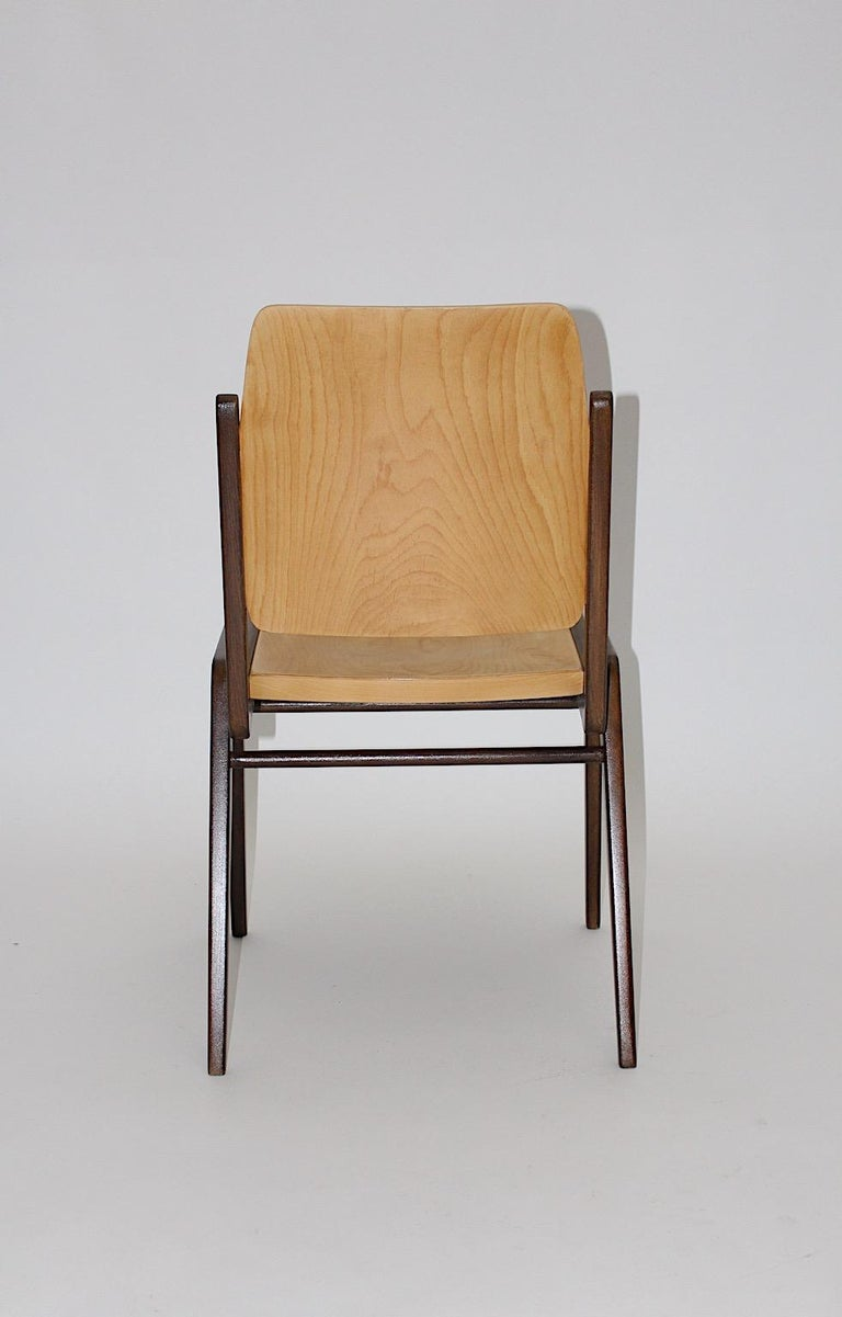 Beechwood Bicolor Brown Mid-Century Modern Vintage Dining Chairs, Franz Schuster For Sale 7