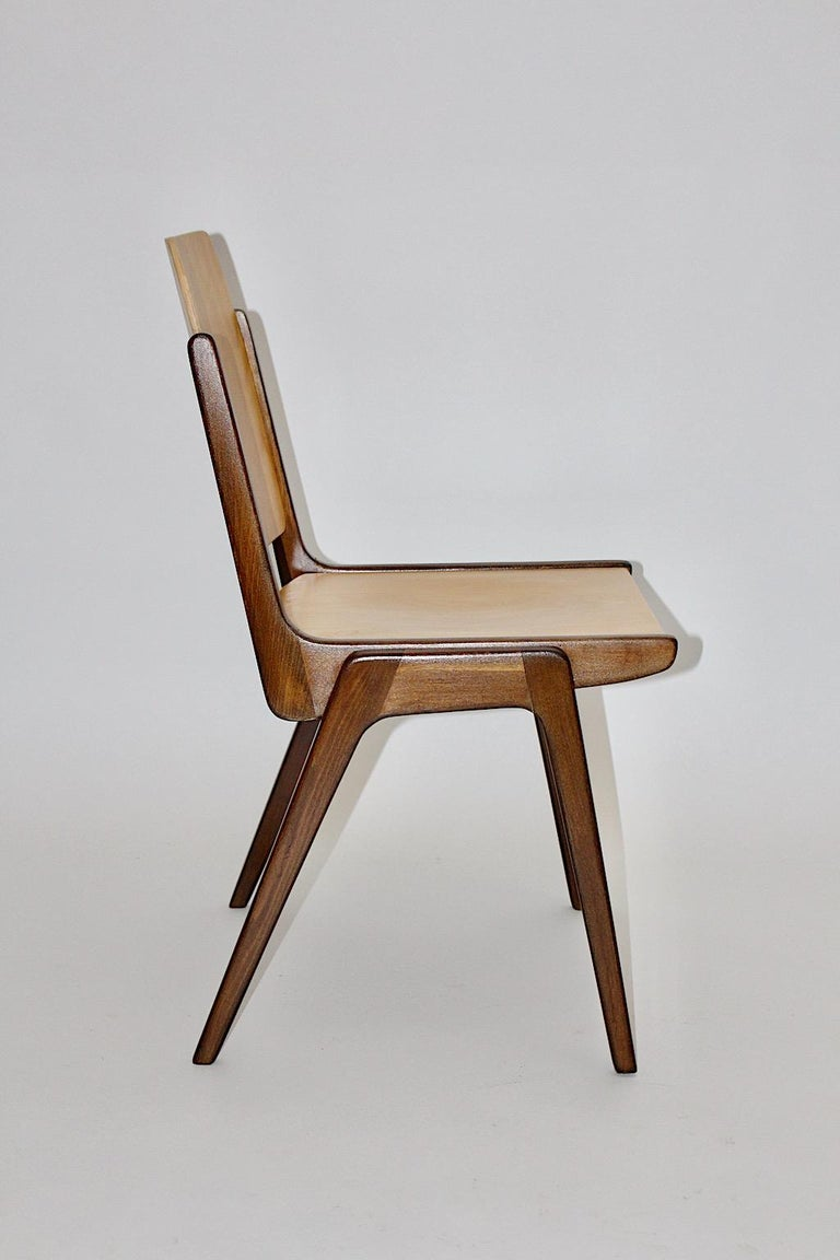 Beechwood Bicolor Brown Mid-Century Modern Vintage Dining Chairs, Franz Schuster For Sale 8