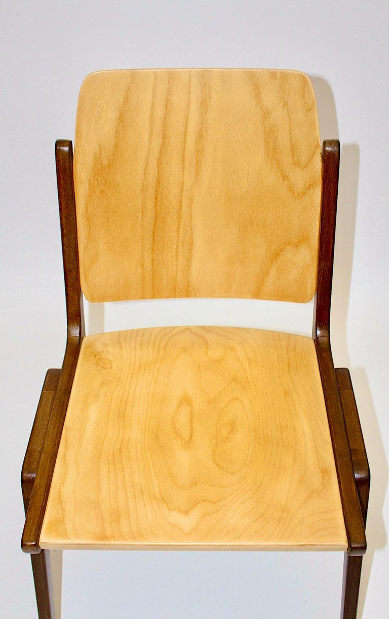 Beechwood Bicolor Brown Mid-Century Modern Vintage Dining Chairs, Franz Schuster For Sale 9