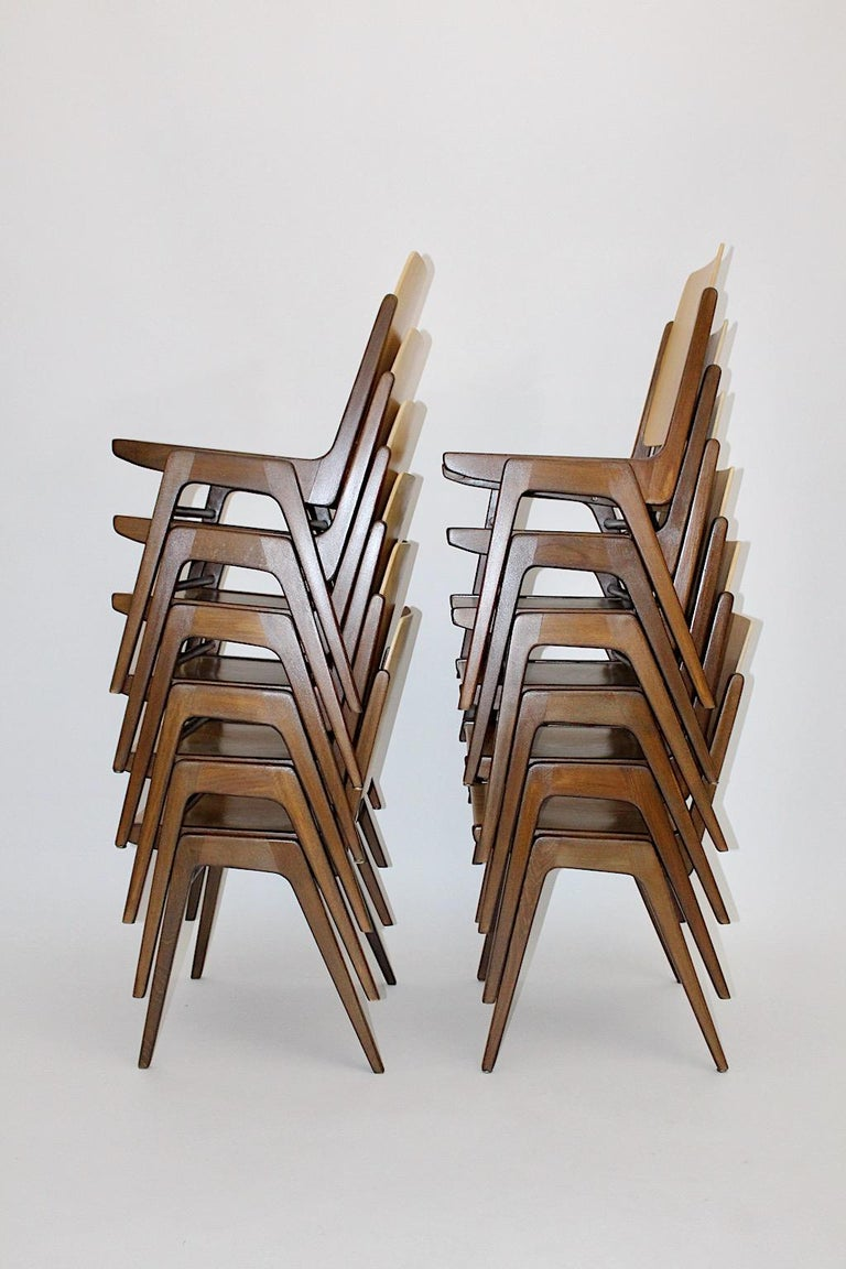 Austrian Beechwood Bicolor Brown Mid-Century Modern Vintage Dining Chairs, Franz Schuster For Sale