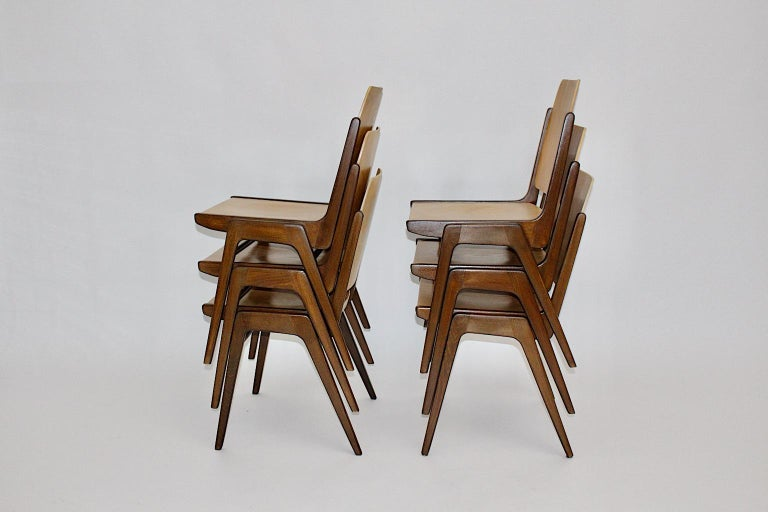 Beechwood Bicolor Brown Mid-Century Modern Vintage Dining Chairs, Franz Schuster For Sale 4