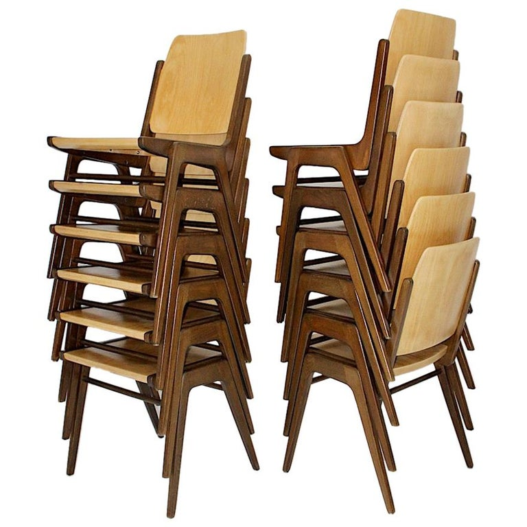 Beechwood Bicolor Brown Mid-Century Modern Vintage Dining Chairs, Franz Schuster For Sale