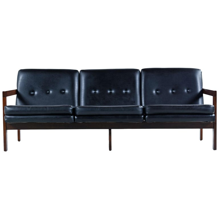 Beechwood Mid Century Modern Black Leather Sofa Couch With Button
