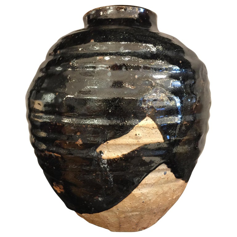 Beehive Style Black Glazed Earthenware Vase For Sale