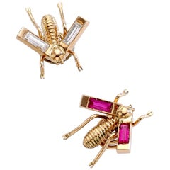Bees Diamond and Red Stone Gold Pins