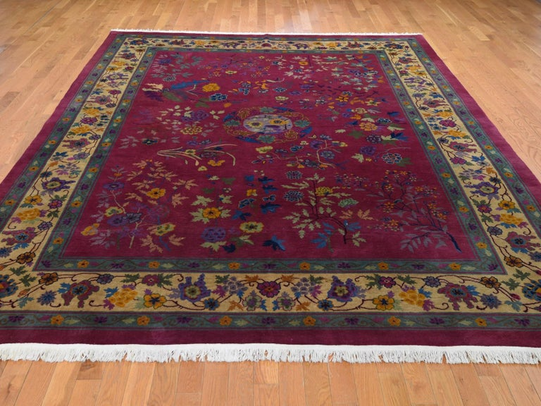 Medieval Beet Red Antique Chinese Art Deco Good Condition Clean Hand Knotted Oriental Rug For Sale