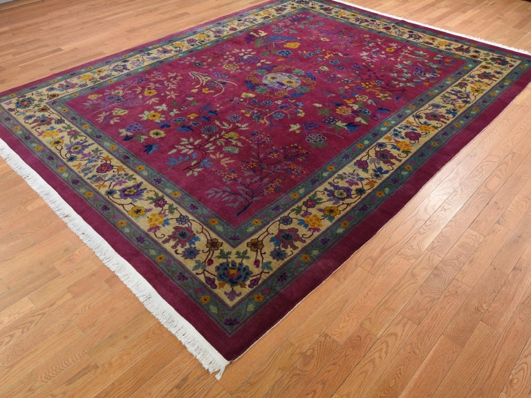 Persian Beet Red Antique Chinese Art Deco Good Condition Clean Hand Knotted Oriental Rug For Sale
