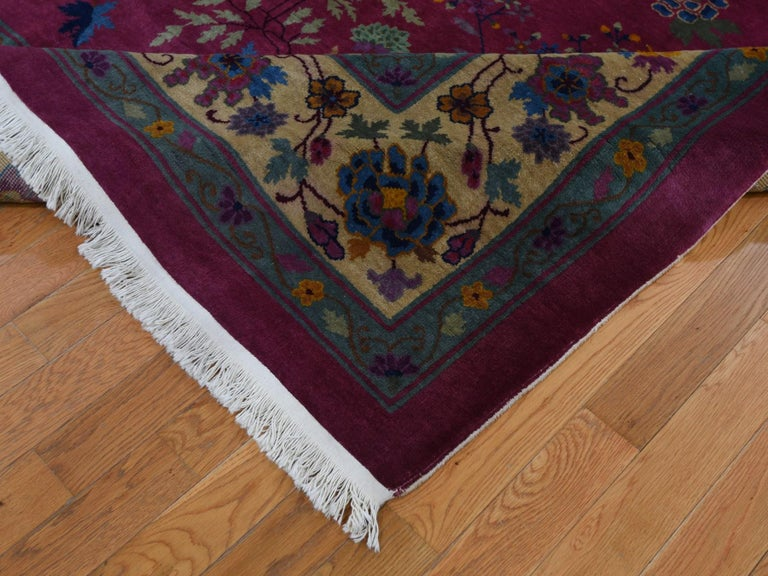 20th Century Beet Red Antique Chinese Art Deco Good Condition Clean Hand Knotted Oriental Rug For Sale