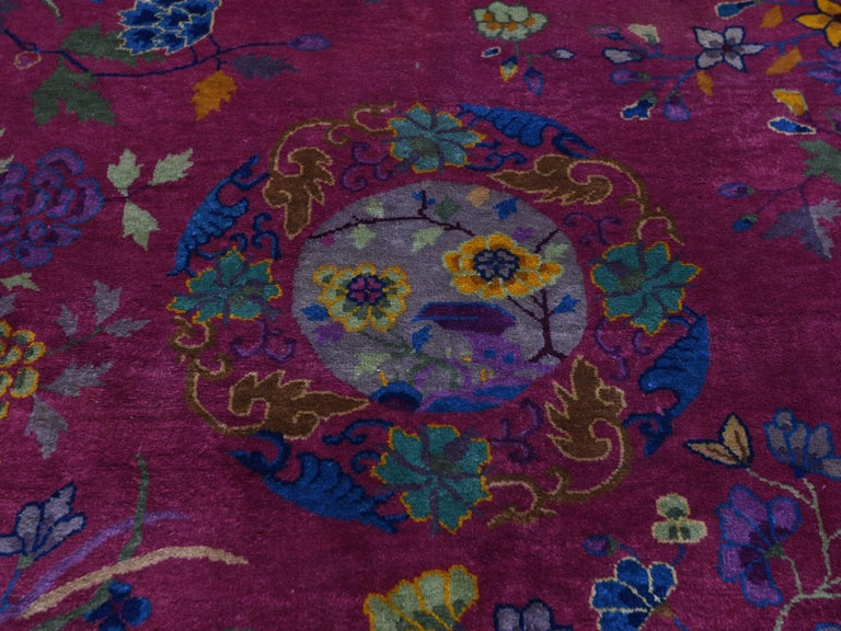 Beet Red Antique Chinese Art Deco Good Condition Clean Hand Knotted Oriental Rug For Sale 1