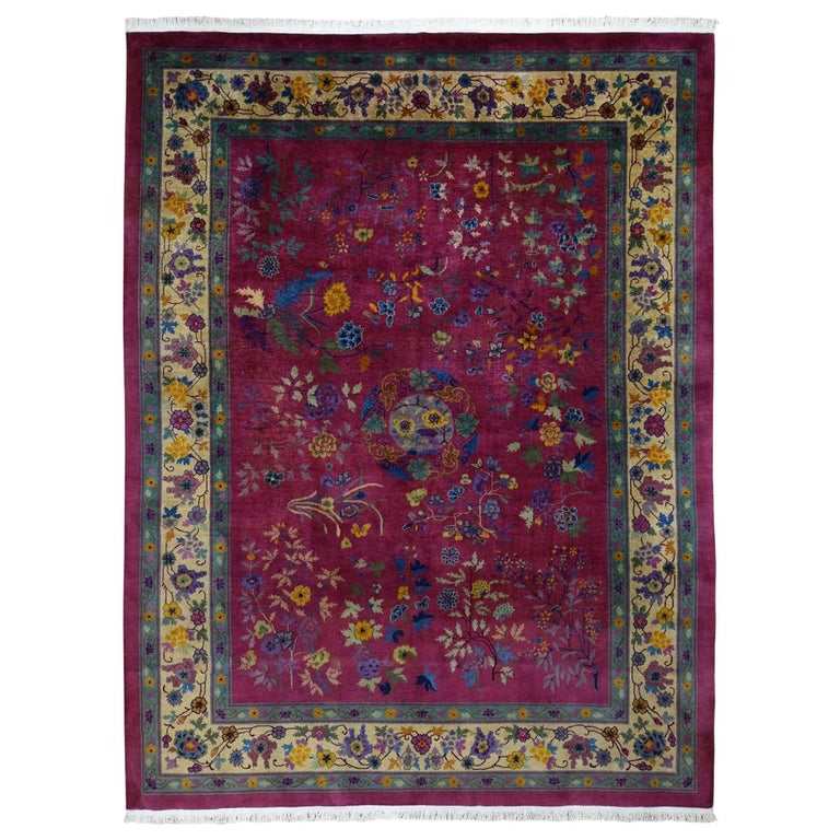 Beet Red Antique Chinese Art Deco Good Condition Clean Hand Knotted Oriental Rug For Sale
