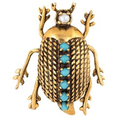 Beetle Brooch Vintage 1960s Turquoise Pearl 14 Karat Gold Estate Bug Jewelry