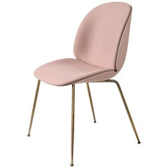 Beetle Dining Chair, Front Upholstered, Conic Base, Antique Brass