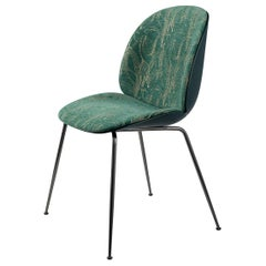 Beetle Dining Chair, Front Upholstered, Conic Base, Black Chrome