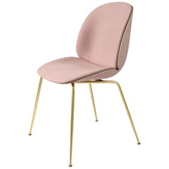 Beetle Dining Chair, Front Upholstered, Conic Base, Brass Semi Matte