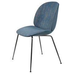 Beetle Dining Chair, Front Upholstered, Conic Base, Chrome