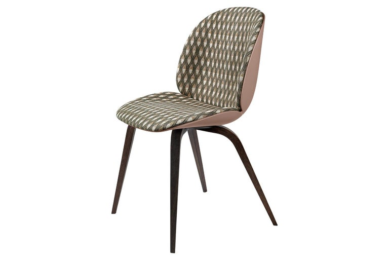 Unglazed Beetle Dining Chair, Front Upholstered, Natural Oak For Sale