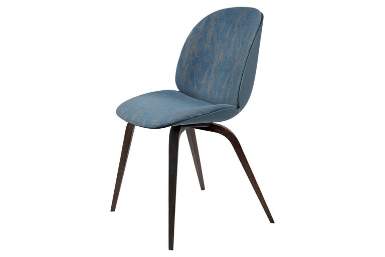 Unglazed Beetle Dining Chair, Front Upholstered, Smoked Oak For Sale
