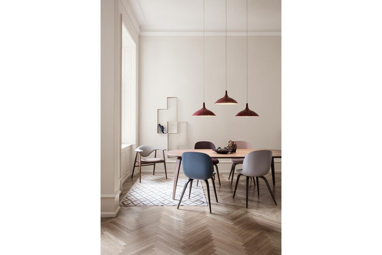 Contemporary Beetle Dining Chair, Front Upholstered, Smoked Oak For Sale
