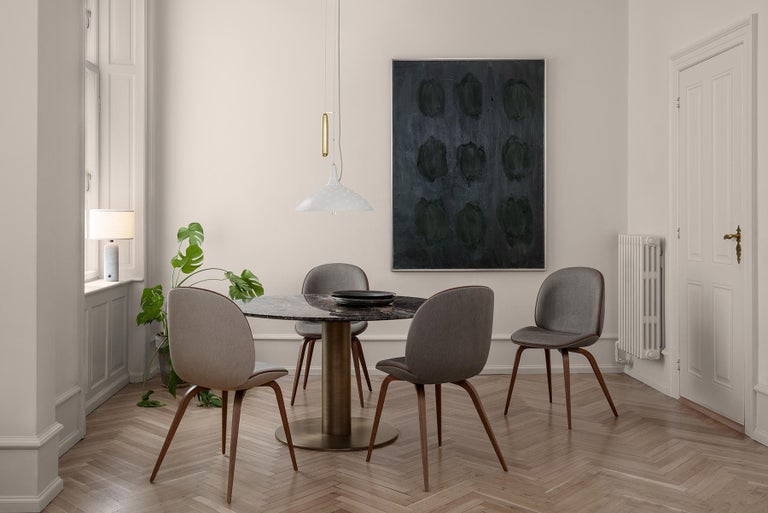 Beetle Dining Chair, Front Upholstered, Smoked Oak For Sale 1