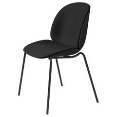 Beetle Dining Chair, Front Upholstered, Stackable Base, Chrome