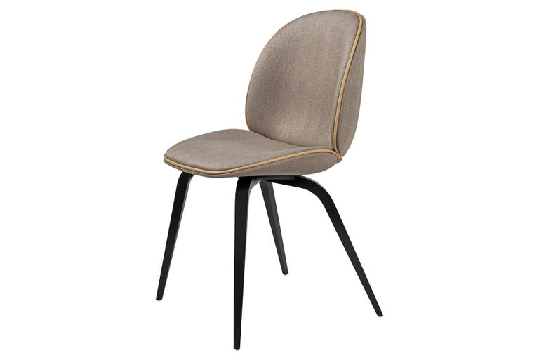 Blackened Beetle Dining Chair, Fully Upholstered, American Walnut For Sale