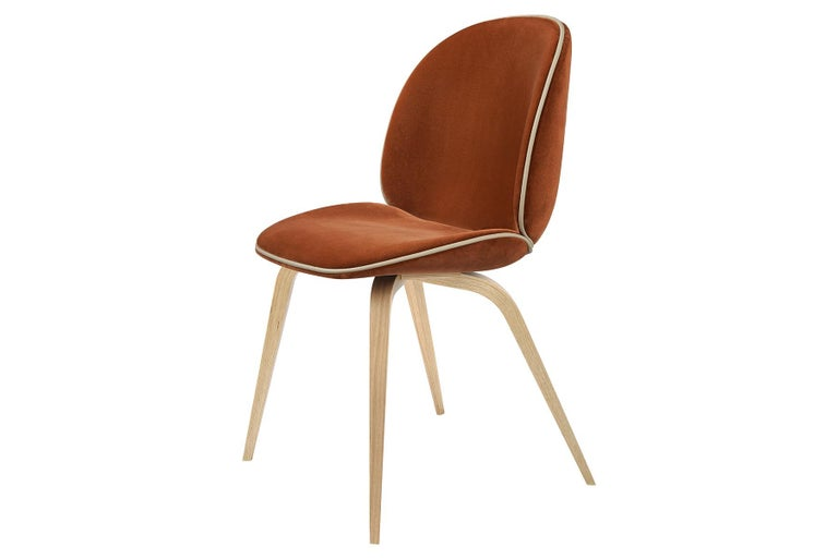 Contemporary Beetle Dining Chair, Fully Upholstered, American Walnut For Sale