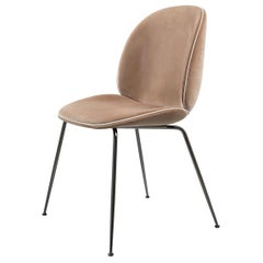 Beetle Dining Chair, Fully Upholstered, Conic Base, Black Chrome