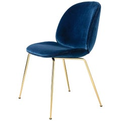 Beetle Dining Chair, Fully Upholstered, Conic Base, Brass Semi Matte