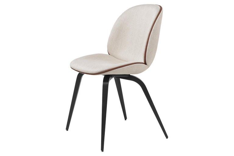 Mid-Century Modern Beetle Dining Chair, Fully Upholstered, Smoked Oak For Sale