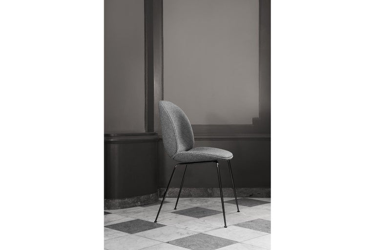Beetle Dining Chair, Fully Upholstered, Stackable Base, Matte Black  In New Condition For Sale In Berkeley, CA