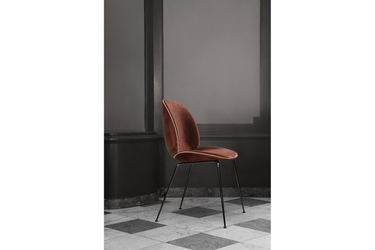 Contemporary Beetle Dining Chair, Fully Upholstered, Stackable Base, Matte Black  For Sale