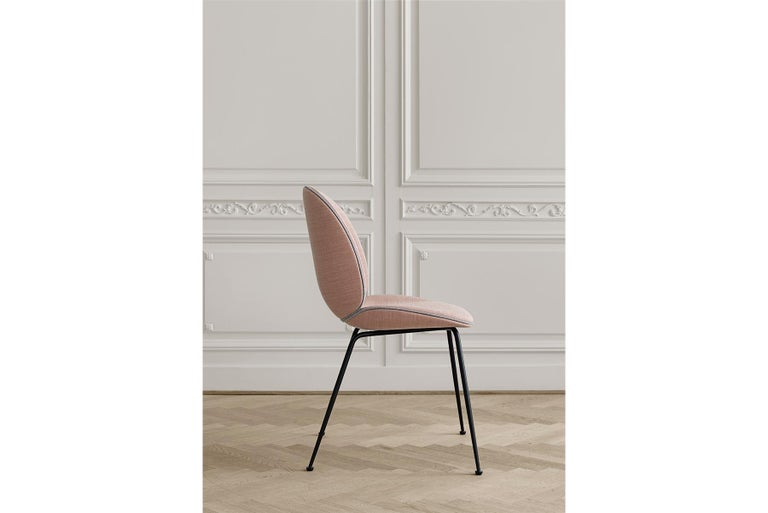 Beetle Dining Chair, Fully Upholstered, Stackable Base, Matte Black  For Sale 1