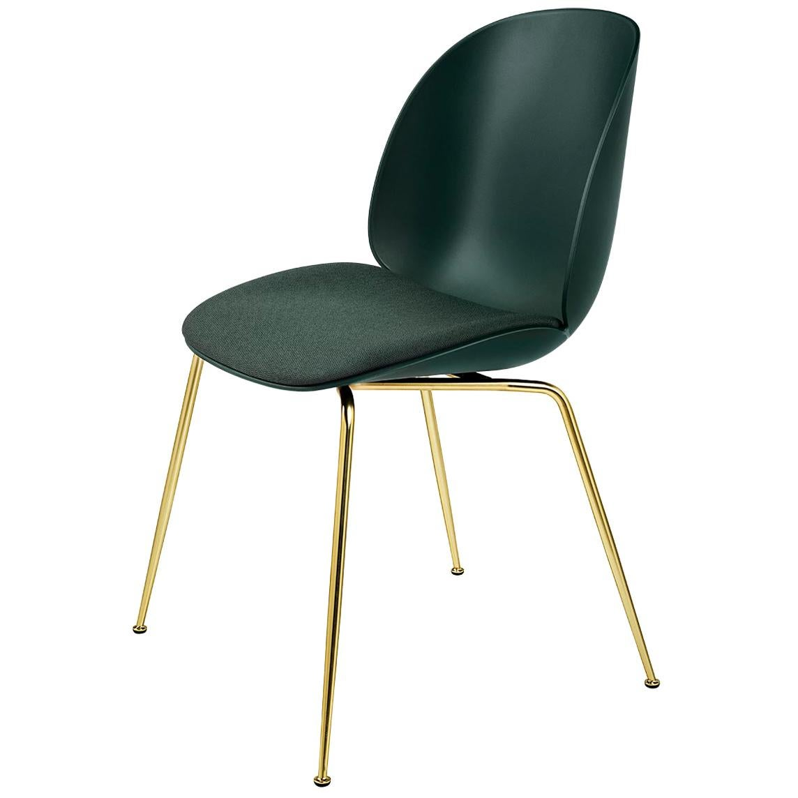 Beetle Dining Chair, Seat Upholstered, Conic Base, Brass Semi Matte