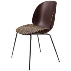 Beetle Dining Chair, Seat Upholstered, Conic Base, Chrome